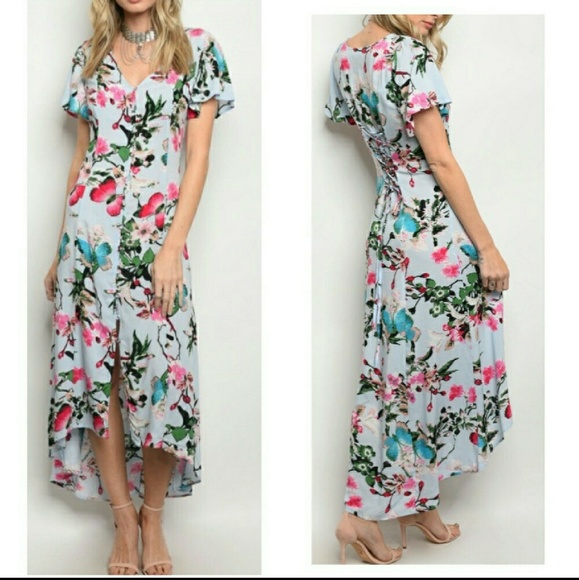 1adbab09403 NEW Blue Pink Butterfly Maxi Dress Lace Back S M L. Boutique. entro